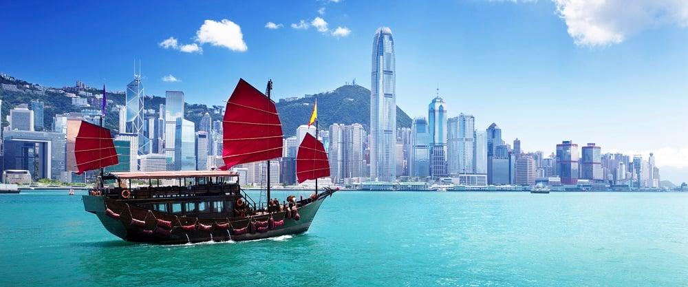 Classic sailboat in Hong Kong harbor