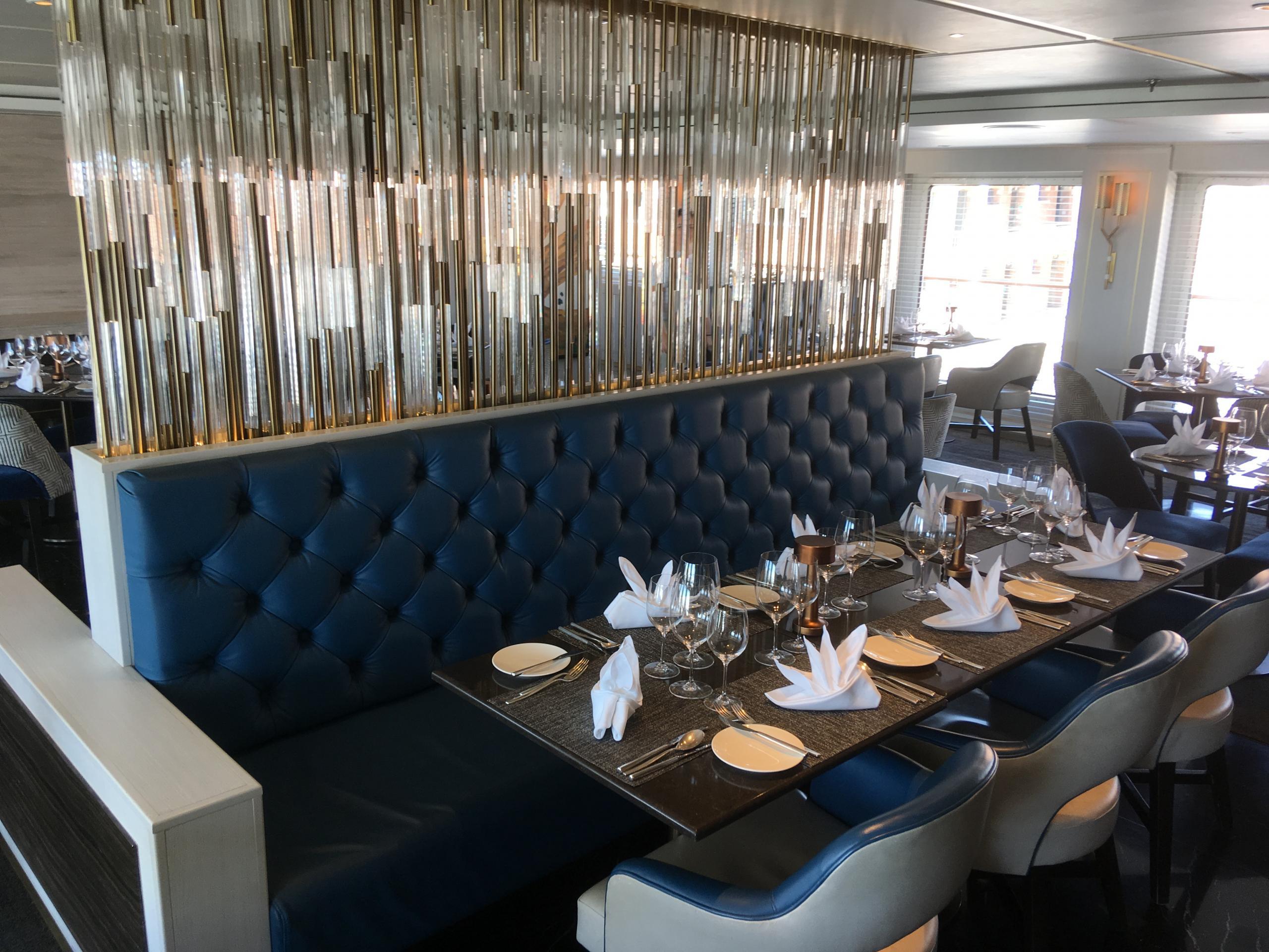 The Yacht Club, main dining onboard Luxury Yacht Crystal Esprit.