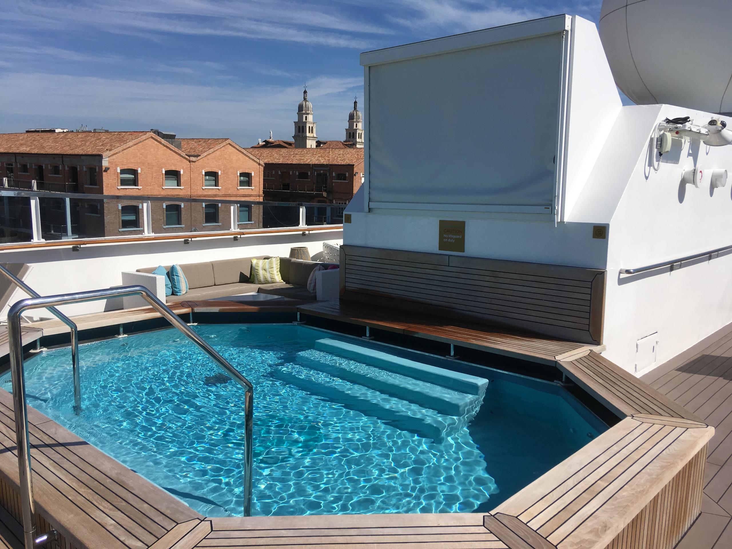 Splash pool onboard luxury yacht Crystal Esprit.