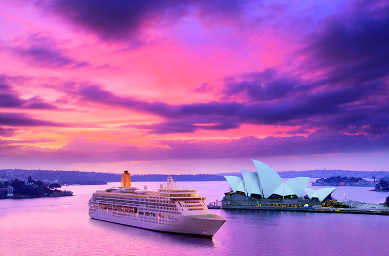 P&O Cruises Aurora in Sydney as part of her world cruise itinerary.