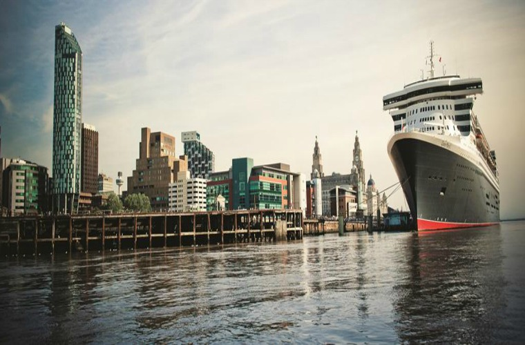 Queen Mary 2 docked in Liverpool