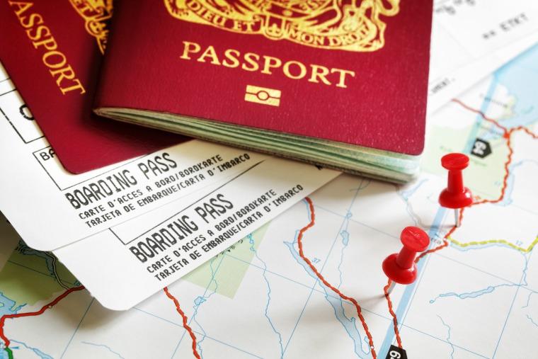 Passports and map