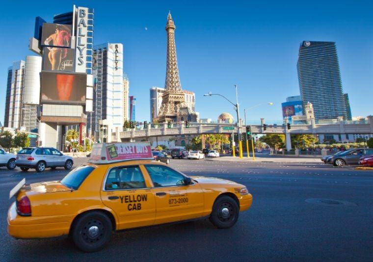 Yellow Cab on Las Vegas strip