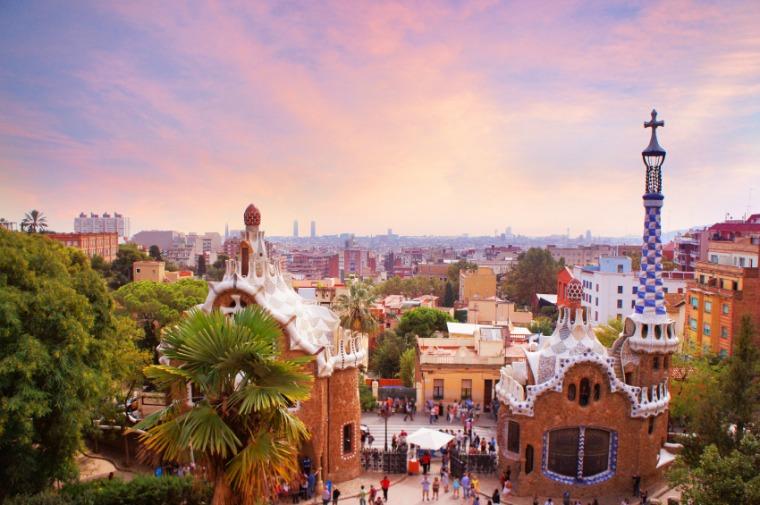 Barcelona's fiery sunset