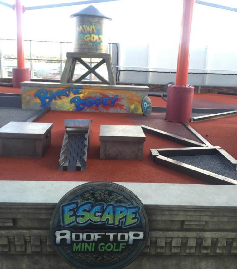 Graffiti-themed crazy golf on board NCL Escape