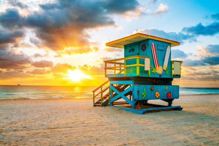 Colourful lifeguard stand at Miami Beach