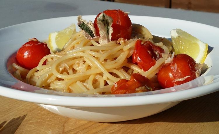 Spaghetti with Cornish Crab and Cherry Tomatoes