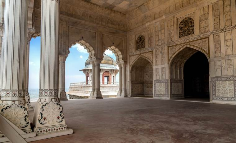 Agra Fort white marble architectural carvings and portico structure