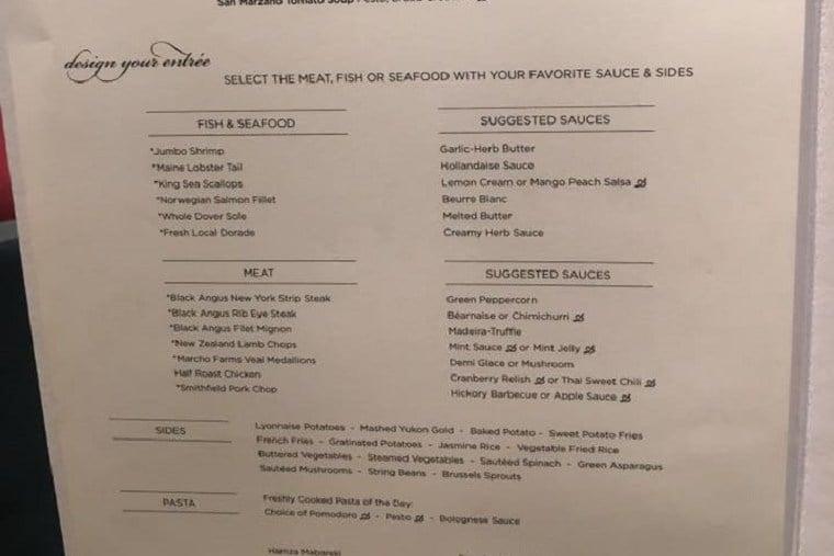 All Time Favourites menu example Regent Explorer