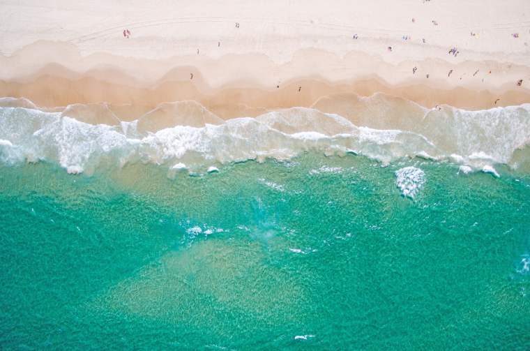 An aerial view of the beach in summer along Australia's Gold Coast