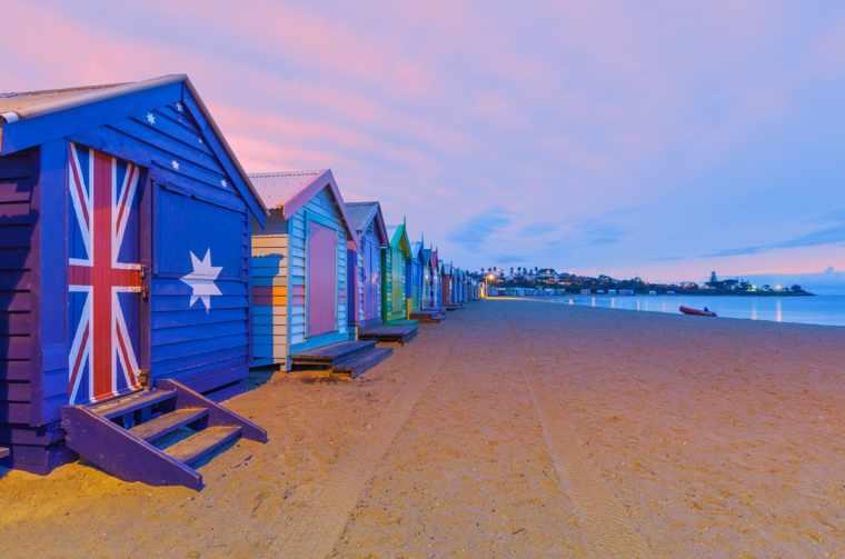 Beautiful Brighton bathing houses at St Kilda, Australia