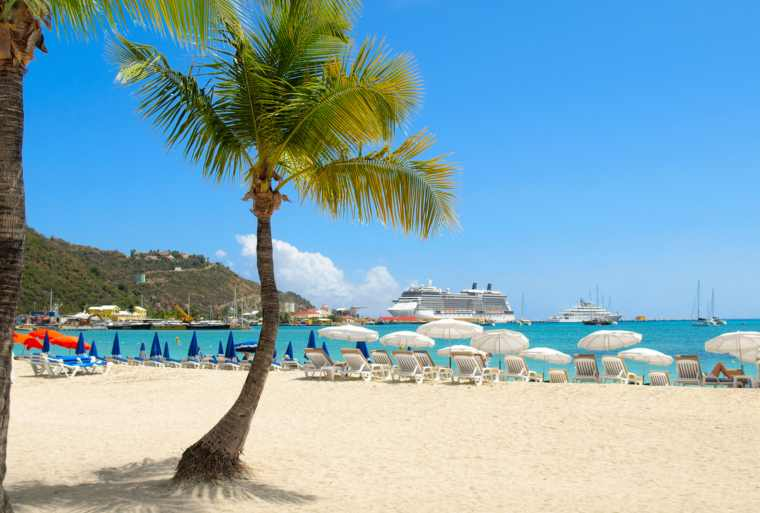 Caribbean beach with cruise ship in background