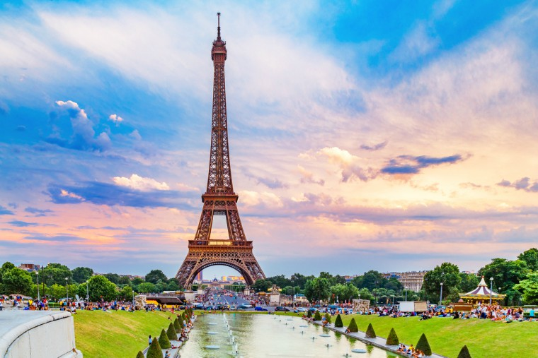 City scape with Eiffel tower and Trocadero park,
