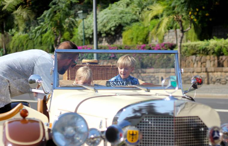 Classic car ride back to P&O Cruises Azura in Madeira, Caribbean Cruise, family cruise holiday