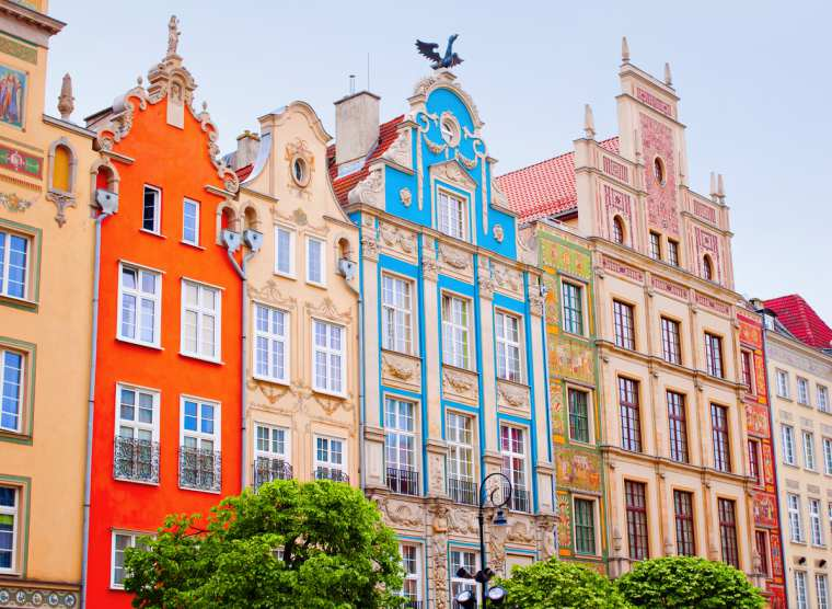 Colorful houses in Gdansk, Poland, Baltic cruise