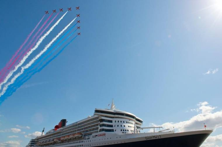 Cunard ship with Red Arrow fly-over