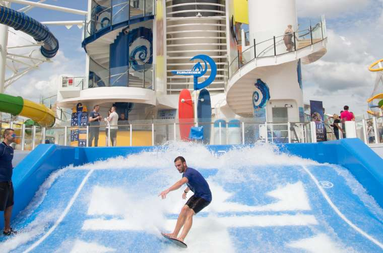 FlowRider Surf Simulator on board the new amped up Independence of the Seas