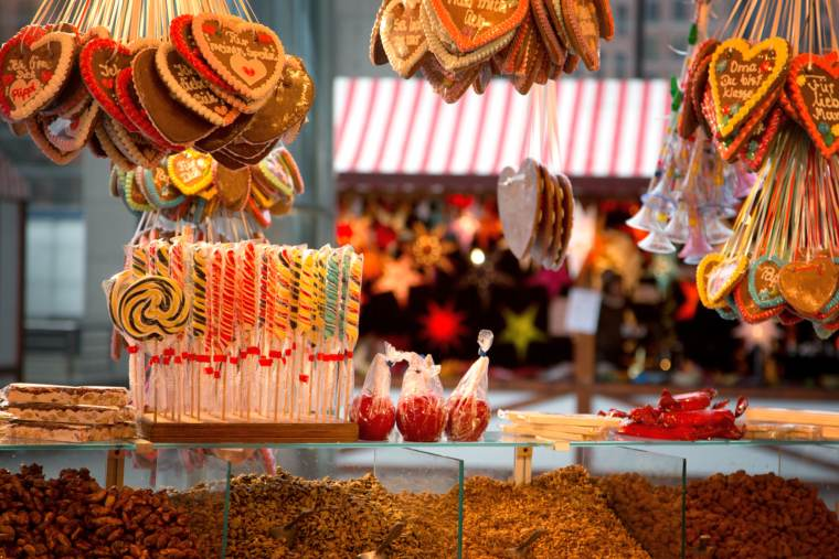 Gingerbread and candy at a European Christmas market