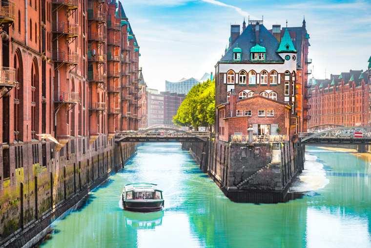 Hamburg Speicherstadt with sightseeing tour boat