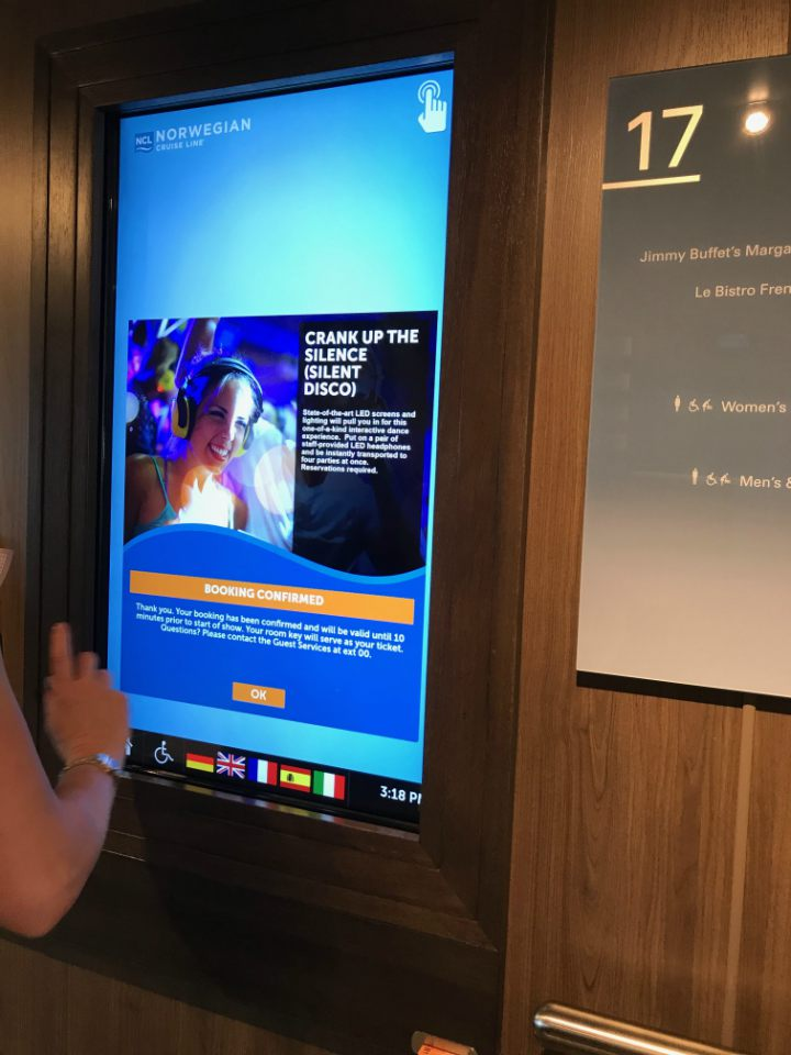 Touch Screens on Norwegian Bliss