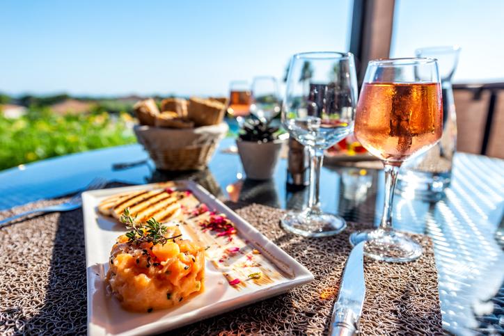 Restaurant tuna tartare on holiday