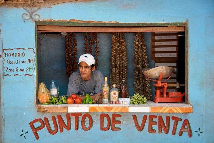 Man sells goods in Cuba