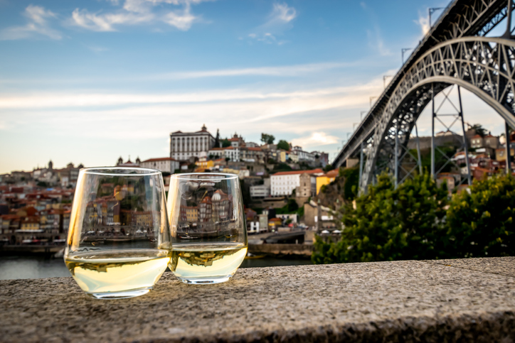 Romantic view of Porto with wine in the foreground