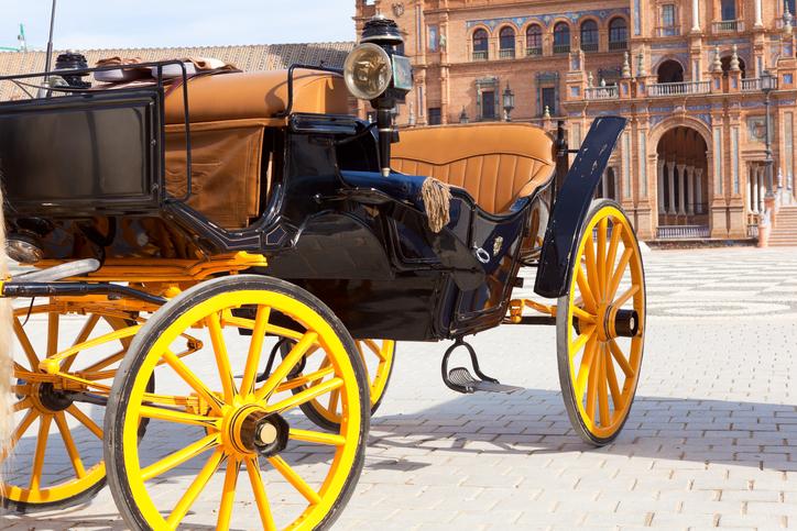 Carriage in front of Plaze de Espana, Seville