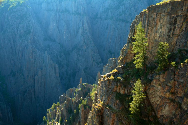 Mid-morning light in the rugged Black Canyon of Colorado.