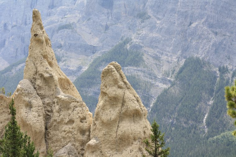 Hoodoo rock formations in the Canadian Rocky Mountains near Banff in Banff National Park.