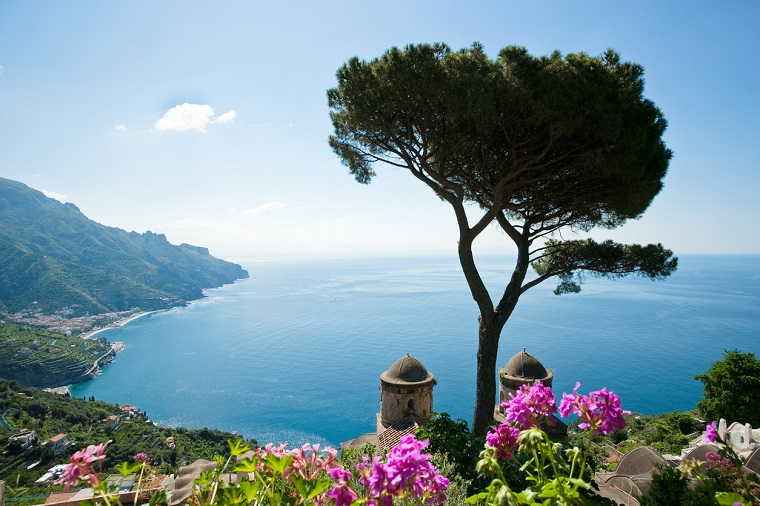 Vista to the Amalfi Coast from the Rufolo Gardens in Ravello, Italy