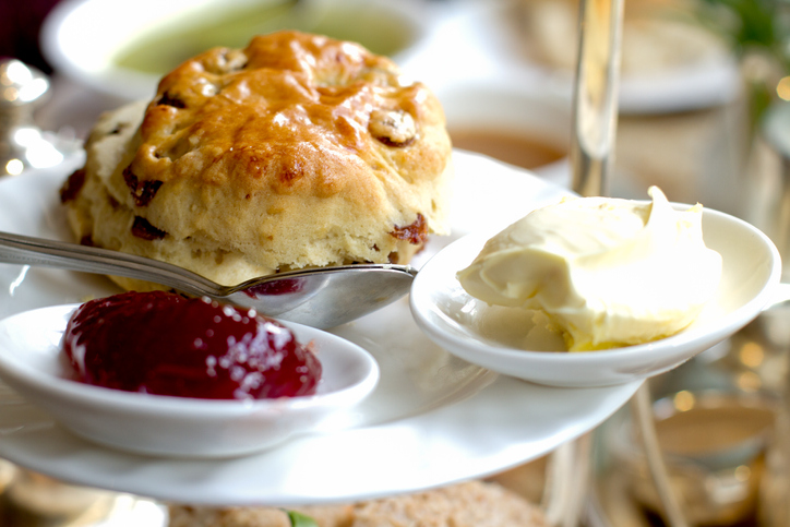 Fruit scones and clotted cream afternoon tea tradition