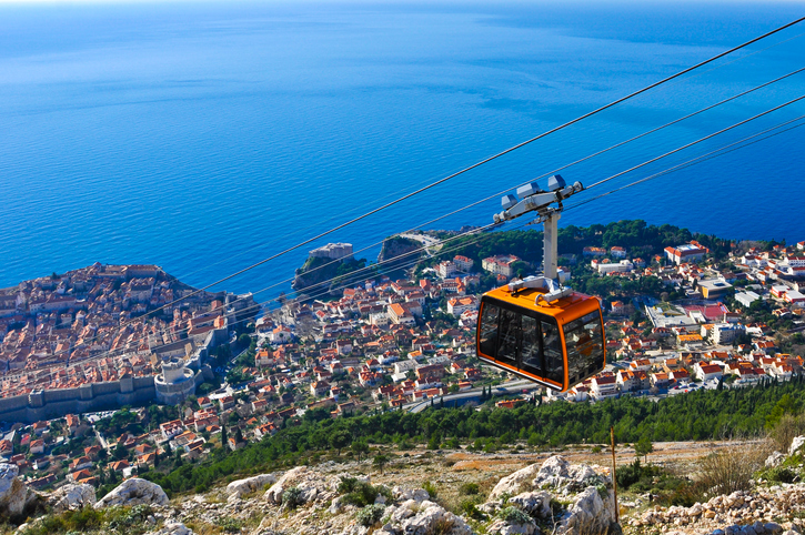 Cable car going down to a center of Dubrovnik.