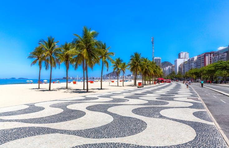 Copacabana beach sidewalk in Rio de Janeiro, Brazil