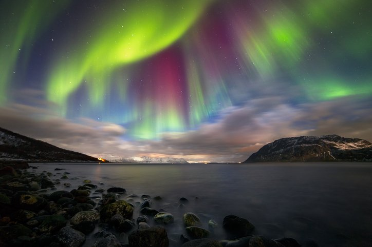 Spectacular show of the Northern Lights (Aurora) over Nupen, outside of Harstad in Northern Norway.