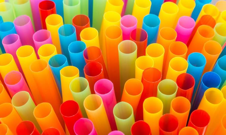 Closeup drinking straws, plastic straws