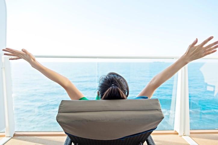 Woman on cruise ship balcony