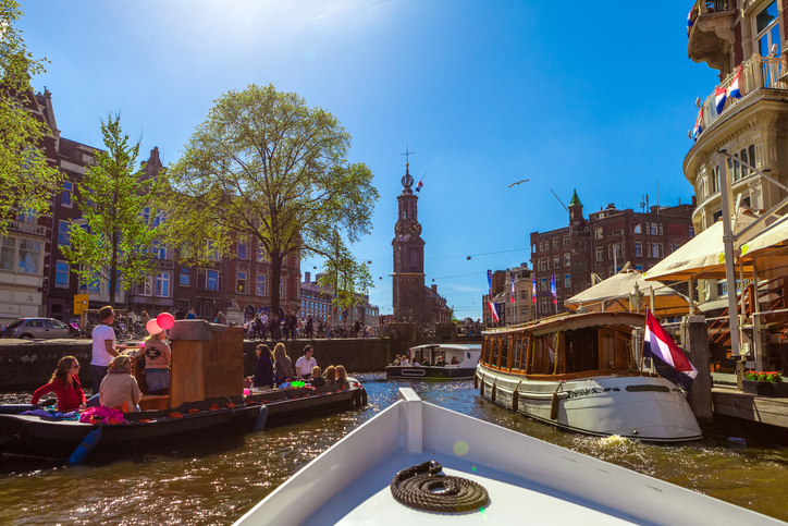 Typical canal in Amsterdam, Netherlands.