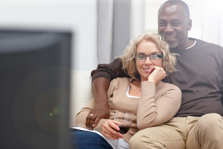 Couple watching a film