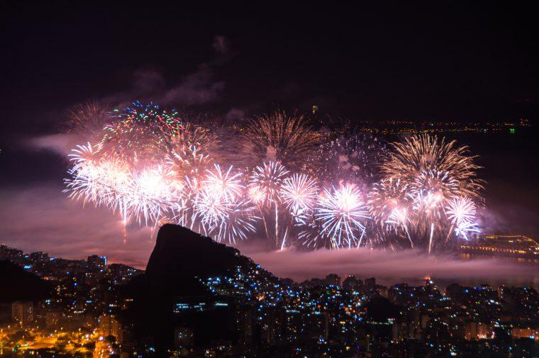 Rio de Janeiro, Brazil. Worlds famous New Year firework show at Copacabana Beach.