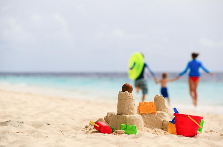 sand castle on tropical beach.