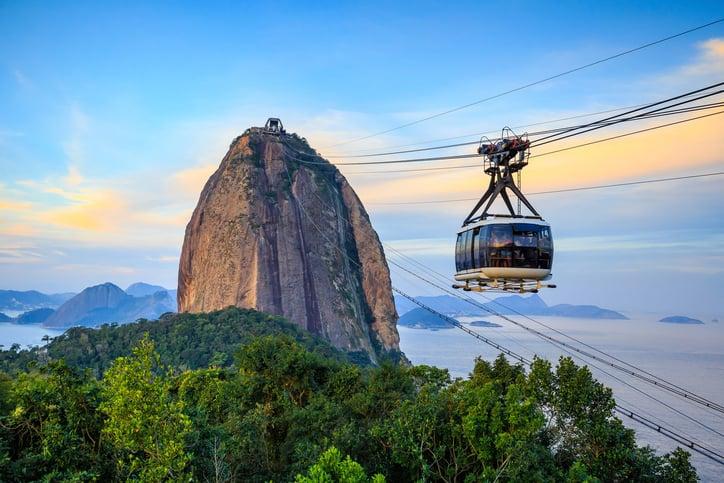 Cable car and Sugar Loaf mountain in Rio de Janeiro.