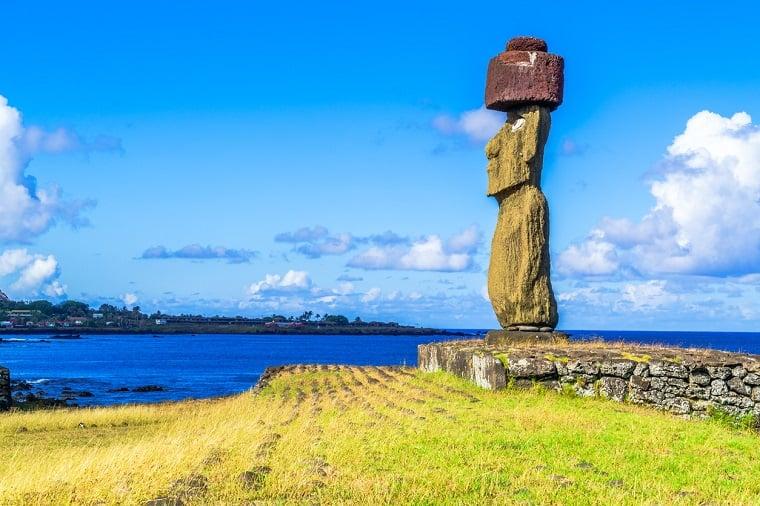 Moai at Ahu Ko Te Riku in Tahat Archeological Complex Easter Island, Chile