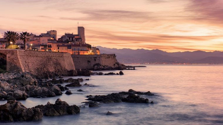 Coastline on the French Riviera in Antibes