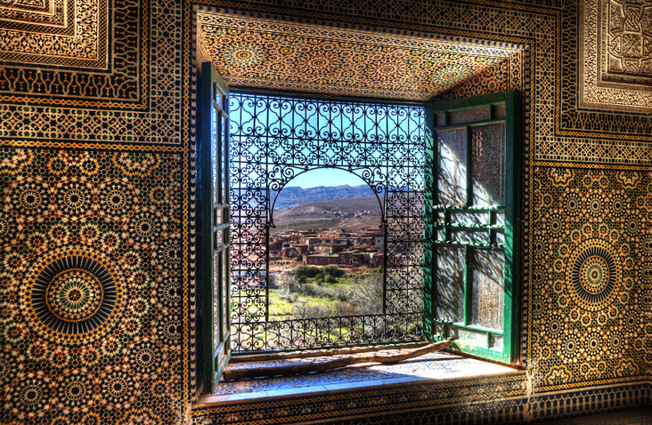 Window over Atlas mountains in Morocco