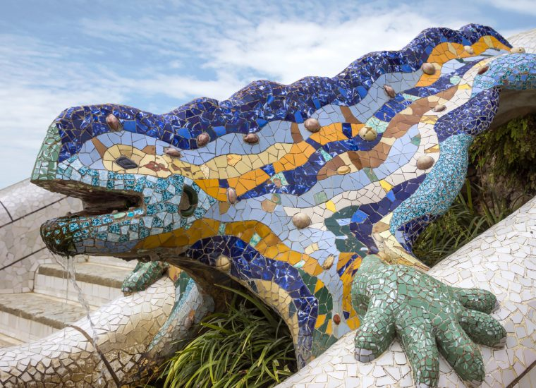 Lizard of Gaudi mosaic in park Guell of Barcelona