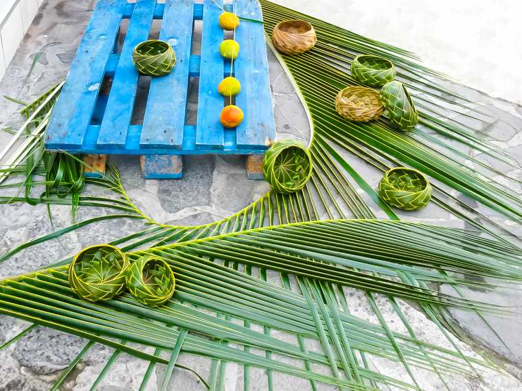 Handmade Caribbean souvenirs - wicker vases of palm leaves