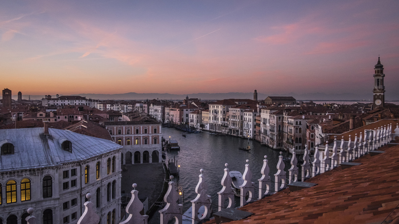 Sunset view from the Fondaco dei Tedeschi, Venice, Italy