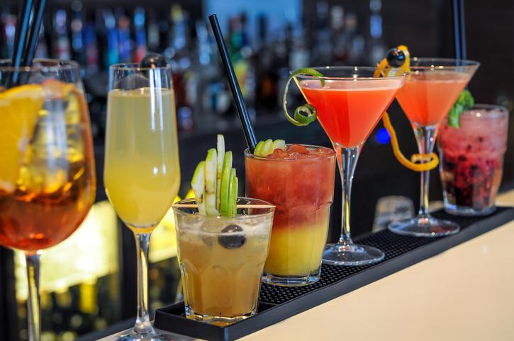 cocktails drinks on bar