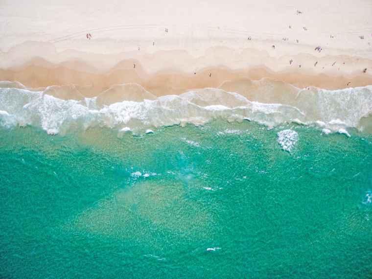 Clean beach from an aerial viewpoint